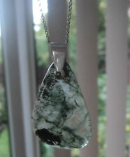 Attractive Vintage Silver Scottish Moss Agate Pendant 1960/70s