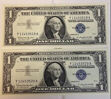 Lot of 2 Silver Certificate notes! 1957B Unc