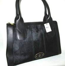 New Fossil Black Vintage Calf Hair Re-Issue Large Top Zip Satchel Bag NWT $248