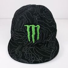 Monster Energy Hat 7-3/4 Flat Bill, Vintage? Black With White Lines Squiggles