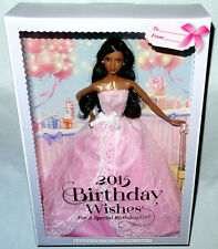Barbie 2015 Birthday Wishes Black African American Doll MIB Pink Label #CHF93