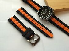 22mm Replacement Black Orange Silicone Rubber DIVER Watch Band Strap fit Seiko