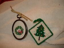 2-Hand Crafted Cross Stitched Beaded  Christmas Ornaments Wreath / Tree  3""