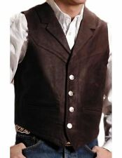 Roper Western Vest Mens Leather Button 3XL Brown 02-075-0510-0704 BR
