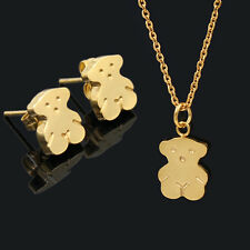 Necklace+Earrings Bear Pendant Gold/Silver Stainless Steel Women's Jewelry Sets