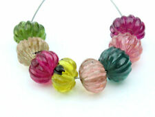 Exquisite Natural Tourmaline Hand Carved Melon Rondelle Gemstone Beads (09865)