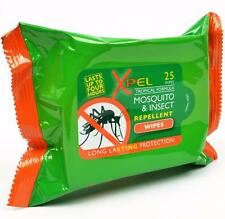 ** 2 X XPEL MOSQUITO & INSECT REPELLENT WIPES NEW **  TRAVEL 25 WIPES LONG LASTI