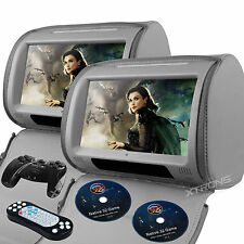 """Gray Headrest 2X 9"""" Touch Screen Game Handle Car Monitor Pillow USB DVD Players"""