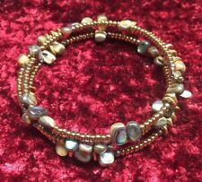 Silpada  Abalone Bronze Seed Bead Brass Sterling Silver Coil Bracelet B1706