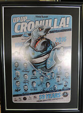 UP UP CRONULLA SHARKS PREMIERS 2016 GRAND FINAL SIGNED FRAMED MEMORABILIA POSTER