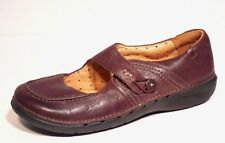 Clarks Unstructured Womens Brown Leather Mary Janes Comfort Loafer Shoe Sz 7.5 W