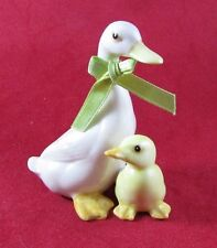 Porcelain Mother Goose Duck and Baby Duckling Figurine