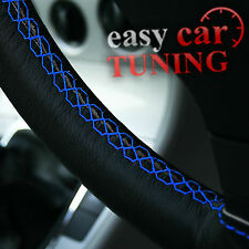 FOR JAGUAR X-TYPE 01-09 BLACK REAL GENUINE LEATHER STEERING WHEEL COVER BLUE FIT