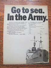 "1970 US Army Advertising Print Ad Go to sea In the Army Recruiting Ad 8"" by 11"""