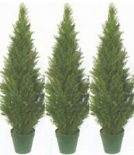 "3 TOPIARY 48"" OUTDOOR PLANT 4' ARTIFICIAL BUSH CYPRESS TREE CEDAR POOL PATIO POT"