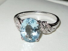 Beautiful QVC 9ct white gold Sky Blue Topaz gemstone Solitaire & Diamond ring
