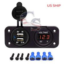 P2 Orange Waterproof Voltmeter 12V-24V & Dual USB 3.1A Charger MTV Boat Car SUV