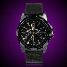 Fashion Gemius Army Racing Force Military Sport Mens Fabric Band Watch Black