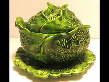 intage Ceramic Holland Mold Cabbage/Head Lettuce Covered Soup/Dip Bowl w/Dish