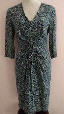 Whistles women's black and teal patterned 100% silk dress size 10