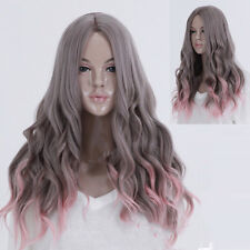 Women Lolita Full Wigs Long Curly Wavy straight Hair Party Cosplay Gray+Pink Wig