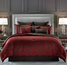 CANDICE OLSON Cascade QUEEN COMFORTER 7pc SET Euros RED BROWN Modern GEOMETRIC
