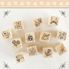 Funny 12Pcs Vintage Flower Wooden Rubber Stamp Letters Diary Craft Scrapbooking