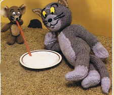 Knitting Pattern- Childs Cat & Mouse Teddies to knit in DK wool.Vintage Pattern
