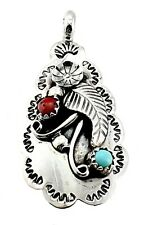 Native American Sterling Silver Pendant with Coral and Turquoise