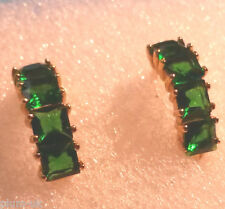 A10. 18k gold filled 14mm huggie hoop earrings green sim emeralds BOXED Plum UK
