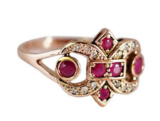C008 Genuine 9ct Solid Rose Gold NATURAL Ruby Diamond Fleur-De-Lis Ring