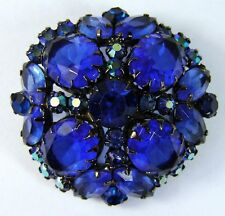 JULIANA D&E DeLizza Elster Cobalt Blue Rhinestone Dome Pin/Brooch FREE SHIPPING!