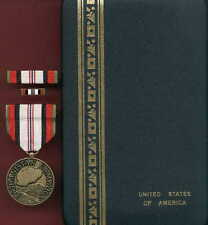 Afghanistan Campaign medal with ribbon bar and lapel pin in case