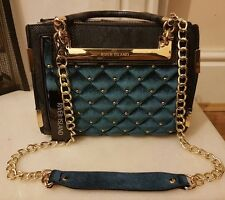 BNWT* River Island Blue Bag Mini Velvet Quilted Tote Handbag Purse *Sold Out