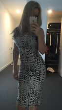 Woman's Sexy Fitted Party Cocktail Dress In Black White Animal Print Size Xs