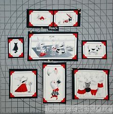 BonEful Fabric Cotton Quilt B&W Holiday Art Olivia The Pig 7 Applique Cat Dog US