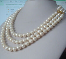 """Charming 3 row natural 9-10mm south sea white pearl necklace 18""""19""""20"""" 14K gold"""