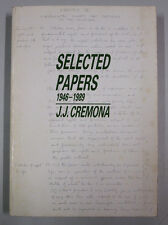 Cremona SELECTED PAPERS 1946-1989 Malta University foreword by Ryssdal