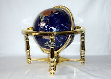"Unique Art 13"" Tall Blue Lapis Ocean Table Top Gemstone World Globe 4 Leg Gold"