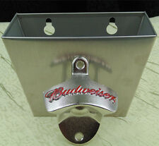 NEW red BUDWEISER wall mount bottle opener open here Cap Catcher stainless steel