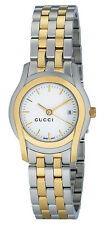 GUCCI G-CLASS DRESS WHITE DIAL DATE TWO-TONE ST.STEEL WOMEN'S WATCH YA055520 NEW