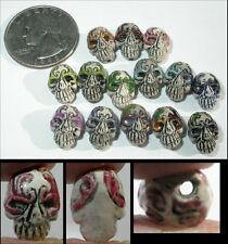 3 pieces, random colors, Day of the Dead Carnival Mask Style SUGAR SKULL Beads!