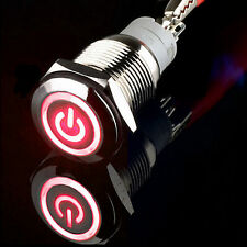 16mm 12V Red power/Circle LED Metal Momentary Push Button Switch car boat sales