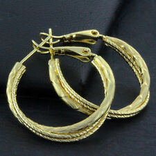 FS642 GENUINE REAL 18K YELLOW G/F GOLD SOLID CLASSIC ANTIQUE STUD  HOOP EARRINGS