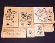 Stampin Up Winter Is Calling RETIRED & RARE Complete Set Snowflakes Holly 2003
