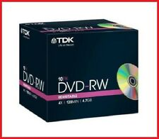 TDK DVD-RW 4.7GB 4x Speed 120min Rewritable DVD Disc Jewel Case Pack 10 (T18891)