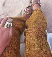 ZARA WOMAN MUSTARD TAN TOBACCO CUT WORK LACE GUIPURE BLOGGERS TROUSERS S 8 10!