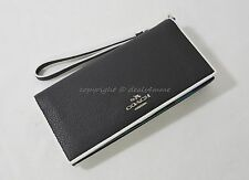 NWT Coach 55295 Tricolor Edgestain Slim Wallet in Black/Green/Blue