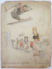 "Dessin original humoristique daté 1946 ""Winter sport in Germany"" BMW"