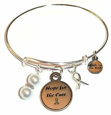 Cancer Awareness Hope for the Cure Expandable Wire Bangle Bracelet, in the Alex